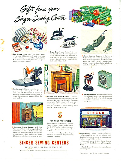 1947 Singer Sewing Ad Appliances Iron