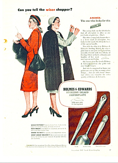 1947 Holmes & Edwards Sterling Silver Ad