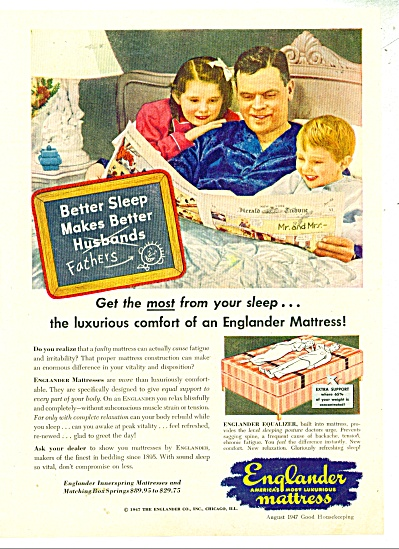 1947 Englander Mattress AD Father Kids in Bed (Image1)