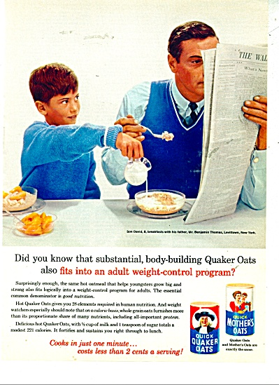 1963 QUICK Quaker Mother OATS AD Ben Thomas (Image1)