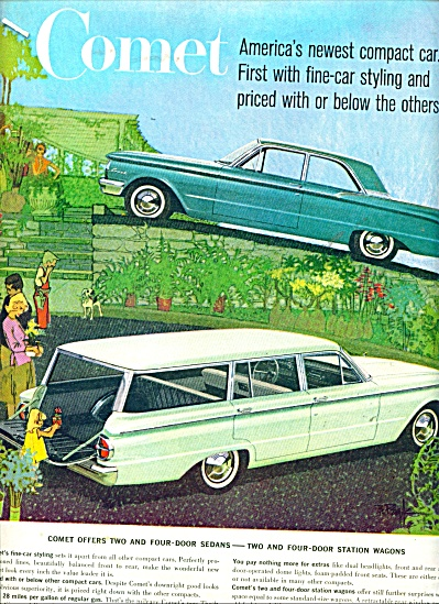 1960 Ford COMET Car AD Sedan BOB PEAK ART (Image1)