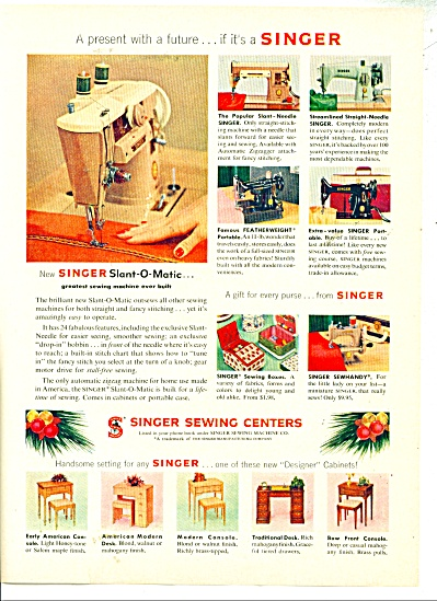 1957 Singer Sewing Centers Ad Machines ++++