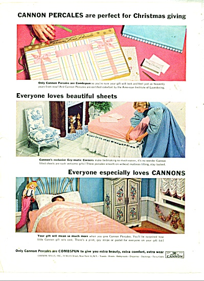 Cannon percales  and sheets ad - 1957 (Image1)