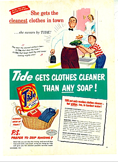 Tide soap ad - 1951 Dad and Son She Swears by Tide (Image1)