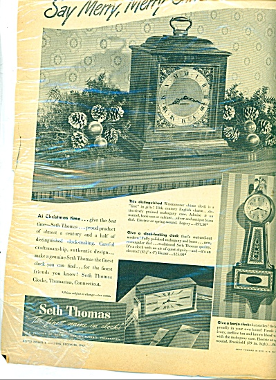 Seth Thomas Clocks Ad