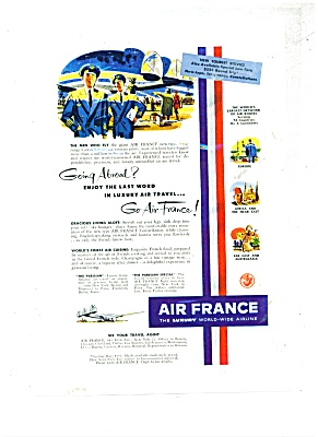 1952 Air France Airlines Travel AD Stewardess (Image1)