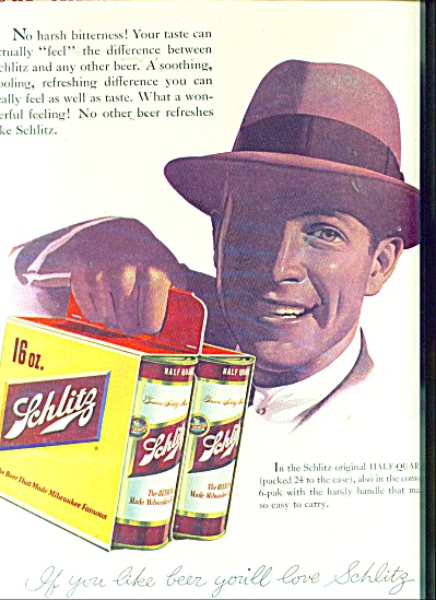 1955 Schlitz Beer Feel The Difference Ad