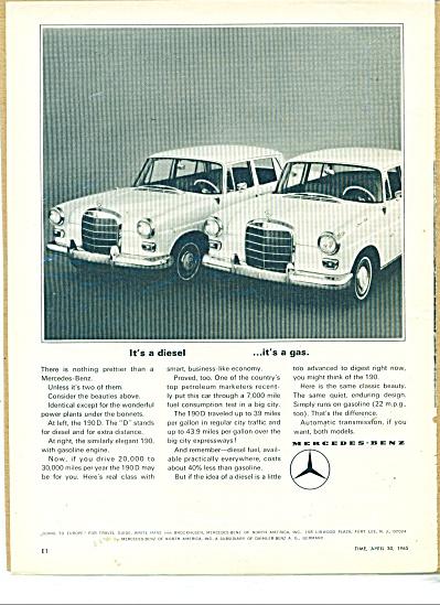 Mercedes Benz automobiles ad - 1965 (Image1)