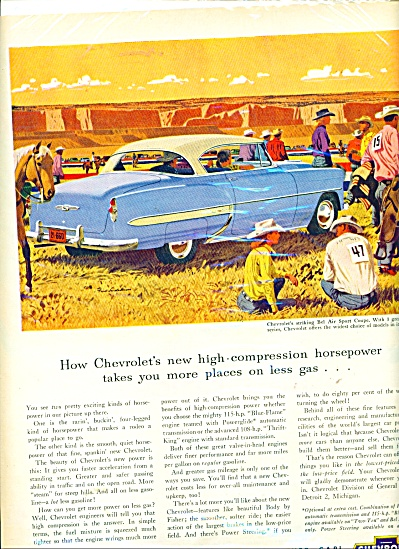 1954 Chevy Chevrolet Car Ad Bel Air Sports Co