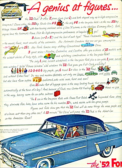 The 1952 Ford car  ad (Image1)