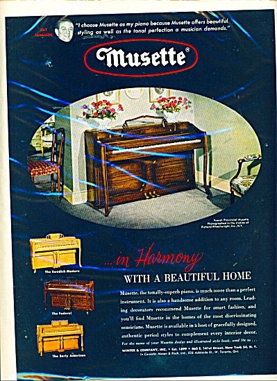 Musette On The Piano Ad - 1952