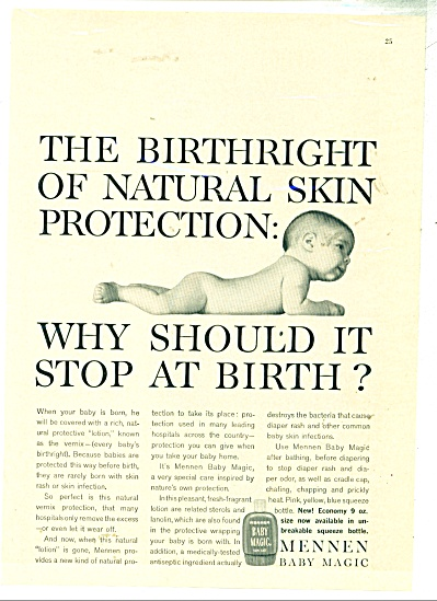 1960 Mennen Baby Magic NUDE BABY AD (Image1)