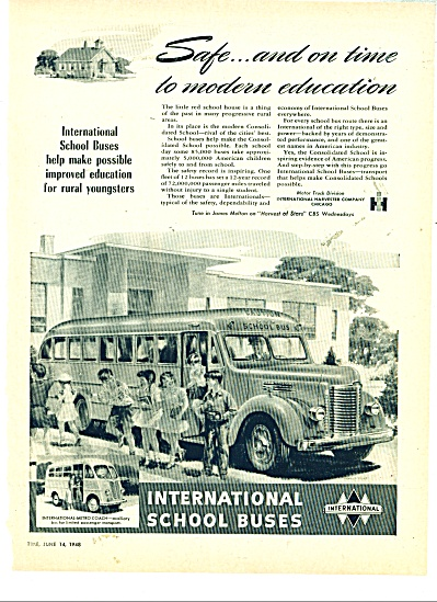 International School buses ad   1948 (Image1)