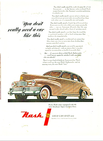 1948 Nash Automobile Ambassador Car Promo AD (Image1)