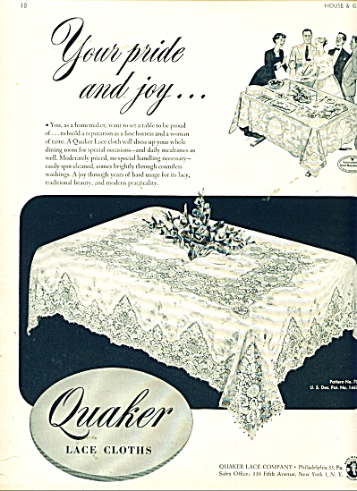 Quaker lace cloths ad   1948 (Image1)