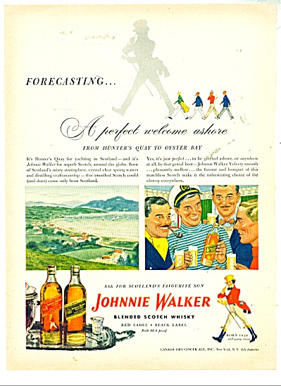 1948 Johnnie Walker Whiskey Ad Men Bonding