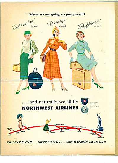 1941 Northwest Airlines AD PRETTY MAIDS (Image1)