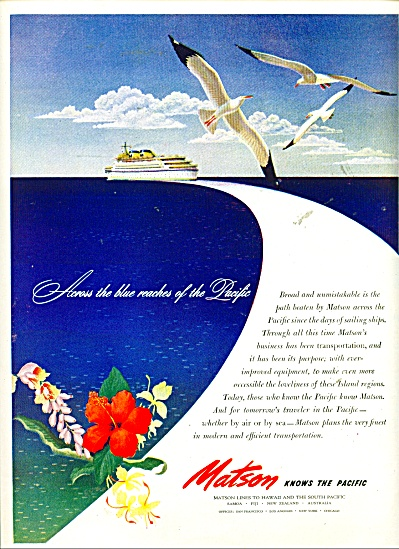 1940s MATSON Cruise Line To Hawaii & South Pa (Image1)