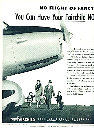 Fairchild Airline AIRPLANE AD PERONAL PLANE (Image1)