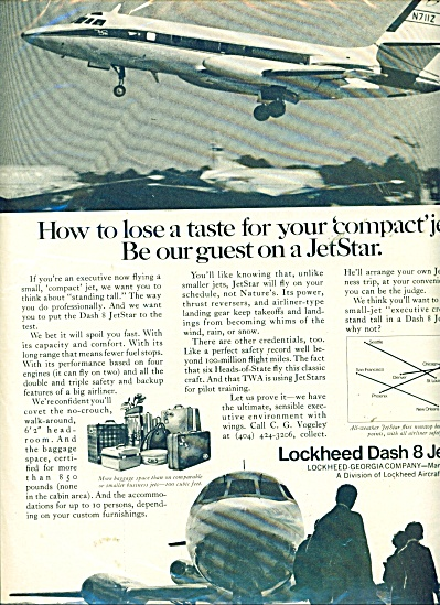 Lockheed Dash 8 Jet Star Ad - 1969