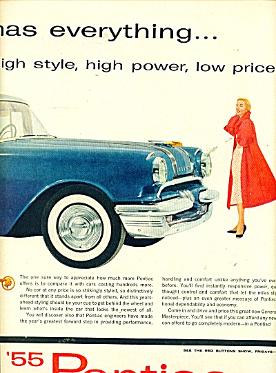 1955 PONTIAC 2 page CAR Automobile AD BLUE (Image1)
