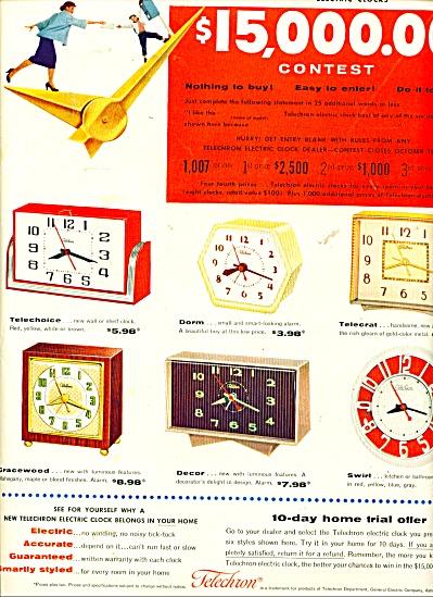 Telecron electric clocks ad   1954 (Image1)
