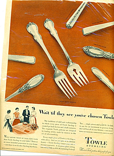 Towle Sterling Ad - 1949