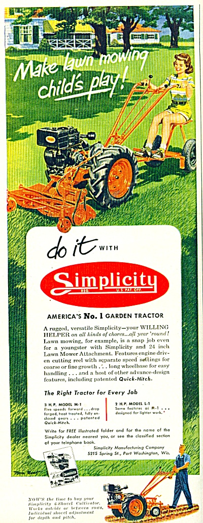 Simplicity Lawn Mowing Ad - 1952