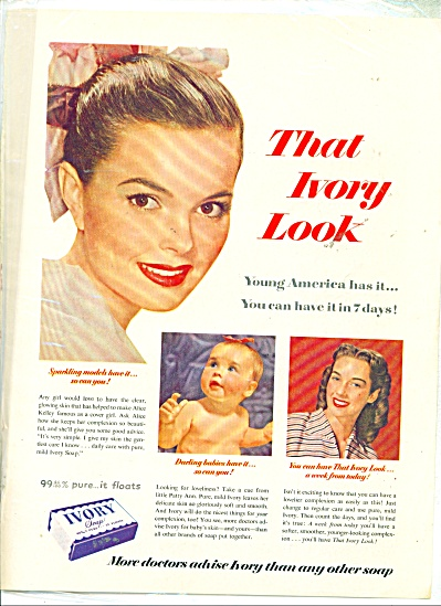 1950's Ivory soap ad - Sparkling Models Alice Kelley (Image1)