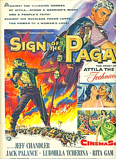Sign Of The Pagan Movie Ad - 1954