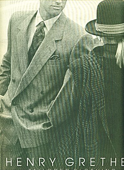Henry Grethe tailored clothing ad - 1986 (Image1)
