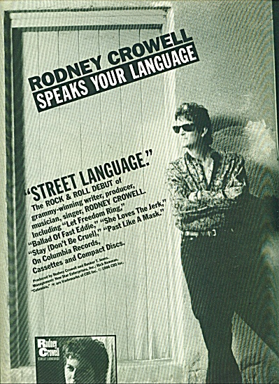 Rodney Crowell speaks your language ad - 1986 (Image1)