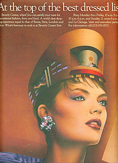 1986 Beverly Center BEAUTIFUL MODEL AD Fashio (Image1)