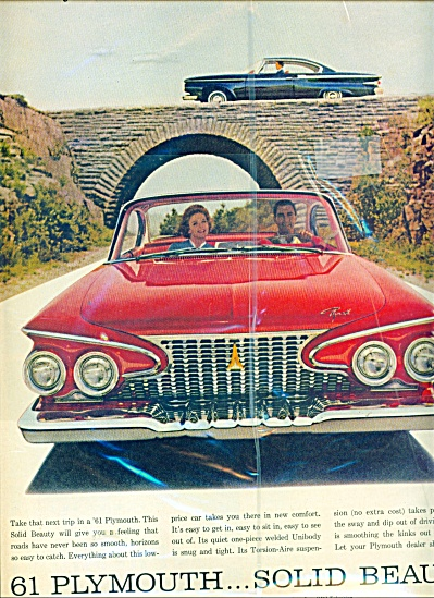 1961 Plymouth automobile ad  RED CAR AD (Image1)