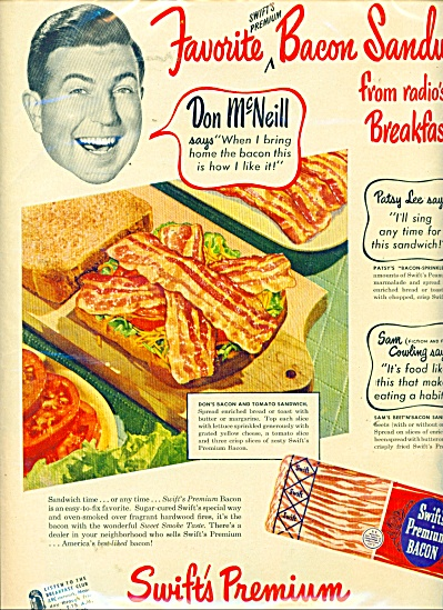Swifts Premium bacon ad -  1950 (Image1)