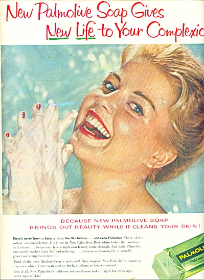1958 Palmolive Soap AD Beautiful BLONDE Model (Image1)