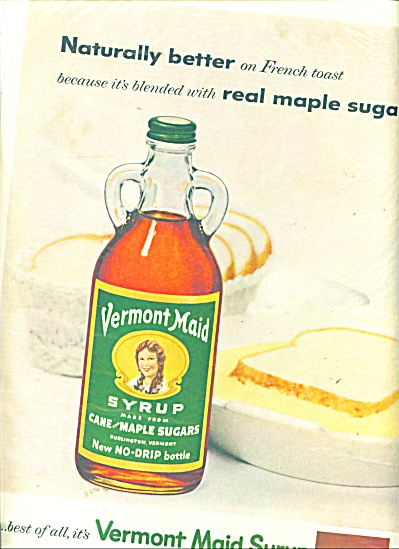 Vermont Maid syrup ad - 1958 Naturally Blended  (Image1)