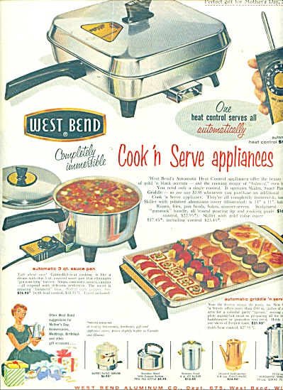 1958 West Bend Appliance Vintage Cookware Ad