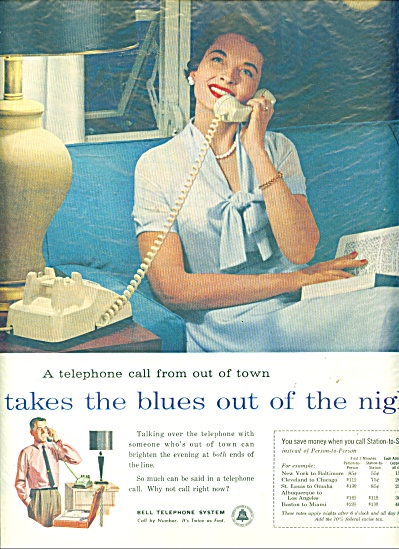 Bell Telephone system  ad   1958 BLUES NIGHT (Image1)