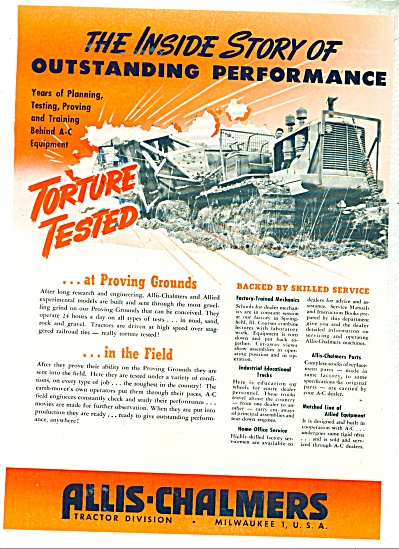 1948 Allis-chalmers Tractor Ad Torture Tested