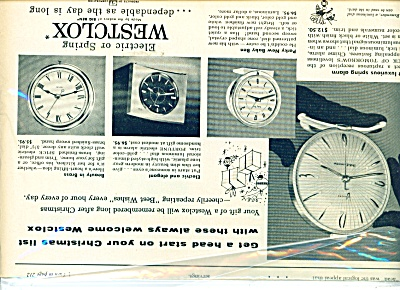 1956 Westclox Electric Spring Clock Ad