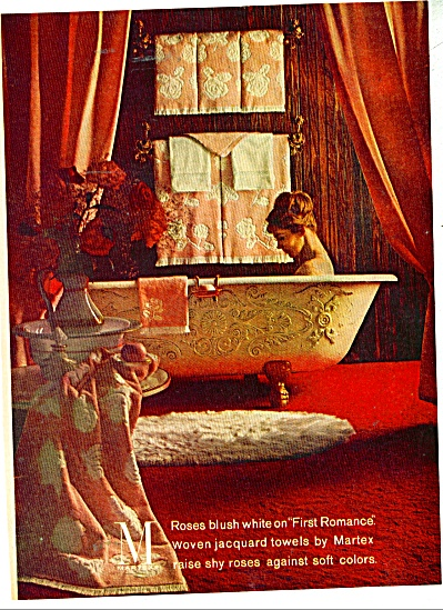 1960 Martex towels ad  Lady in Bathub ROMANCE (Image1)