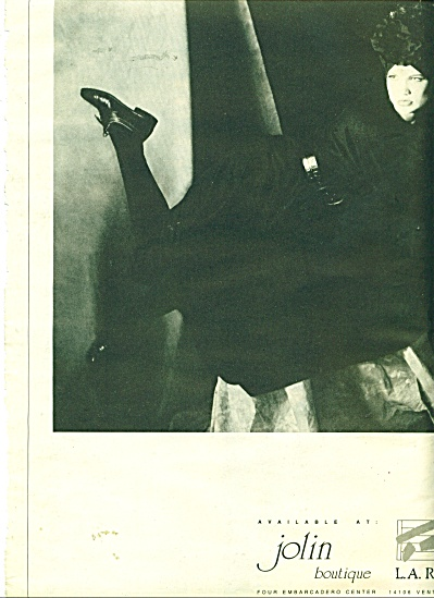 1986 KARL LOGAN AD Black/White MODEL Jolin (Image1)