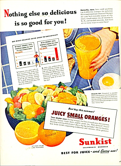 Sunkist California oranges ad - 1945 (Image1)