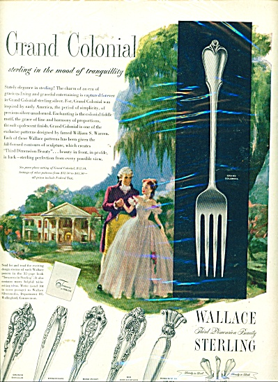 1952 WALLACE Sterling SILVER AD PATTERNS (Image1)