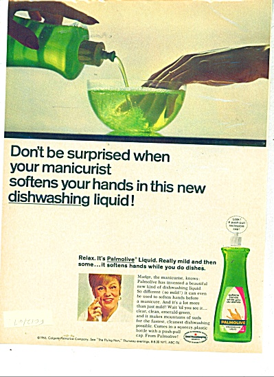 Palmolive dishwashing liquid ad  1967 (Image1)