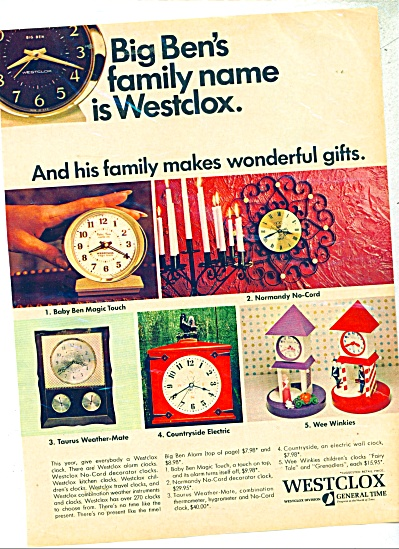 1967 Westclox Clock Ad Baby Ben ++ More Model