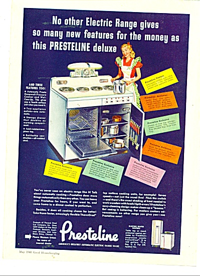 Presteline automatic electric range ad   1948 (Image1)