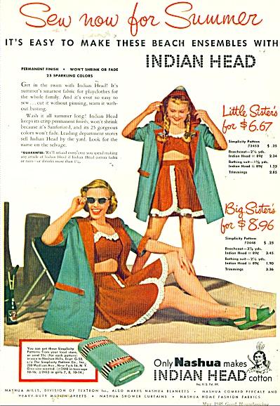 1948 Nashua Indian Head Cotton Simplicity AD (Image1)