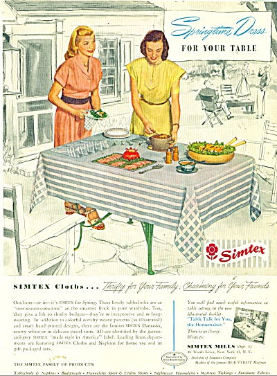 1948 SIMTEX TABLECLOTH AD Weave Pattern (Image1)